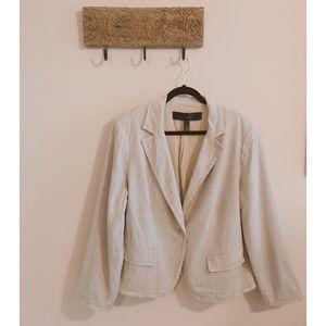 Apostrophe Linen-blend Cream Blazer - Size 18W